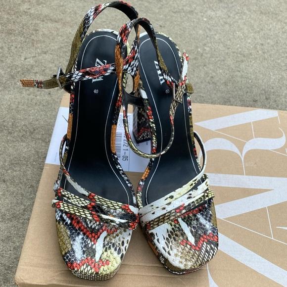 Zara High-heel Multi-Color Animal Print Sandal